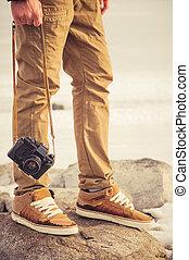 발, 남자, 와..., 포도 수확, retro, 사진 카메라, 옥외, 여행, 생활 양식, 휴가, 개념