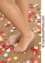 발, 에서, a, woman.