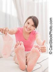 발, 여자, 건강