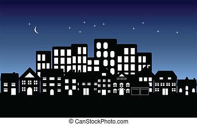 밤, 가을, 통하고 있는, 도시