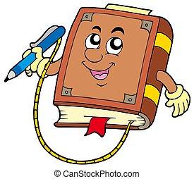 방문자, 책, 와, 펜, 통하고 있는, 끈