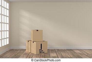 방, 와, 3, 판지 박스