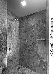 방, 현대, 위로의, 회색, 샤워, 타일을 붙이는, 끝내다, 유행, 보이는 상태, 좋은