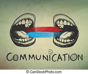 배경., 개념의, 통신, 떼어내다