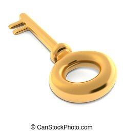 배경, 금, 고립된, 열쇠, 백색, 3차원