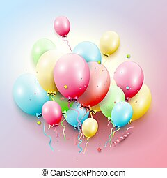 배경, 기구, 다채로운, 생일