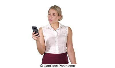 배경., 나이 적은 편의, 생각, 복합어를 이루어 ...으로 보이는 사람, smartphone, 여성 독서, 백색