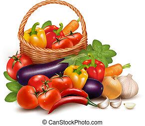 배경, 와, 신선한 야채, 에서, basket., 건강한, 음식., 벡터, 삽화