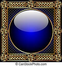 배경, 와, 유리 공, 와..., gold(en), 패턴