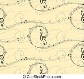 배경, 와, 음악, 노트.
