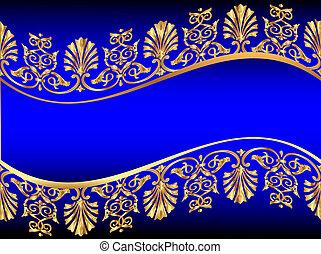 배경, 와, gold(en), 패턴