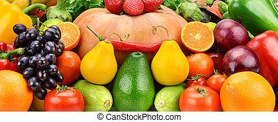 배경, 의, 세트, 과일과 야채