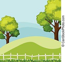 배경, 장면, 와, 녹색의 나무