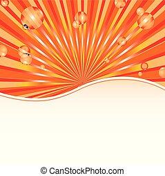 배경, 태양, 떼어내다, 본뜨는 공구, 오렌지, 지팡이