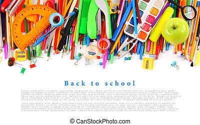 배경., 학교, 백색, 도구, 부속물