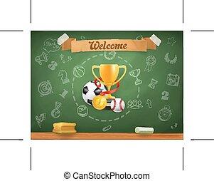 배경, 학교, infographics, 운동회