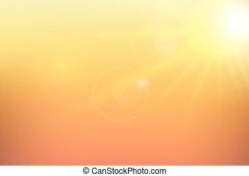 배경., 햇빛, 벡터, illustration., 황색