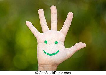 배경, 향하여, 스마일리 얼굴, 그리는, 녹색, 손바닥