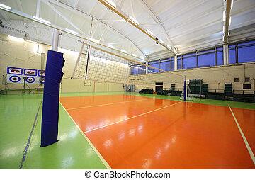 배구 그물, 내부, 불을 붙이게 된다, 학교, 체조, 회관, 와, green-orange, floor.