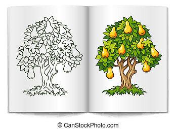 배나무, 와, 익은, 과일, 통하고 있는, 책, 퍼짐