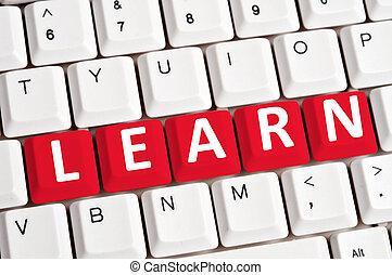 배우다, 낱말, 통하고 있는, 키보드