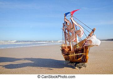 배, 모델, 통하고 있는, 여름, 명란한, 바닷가