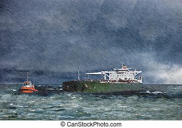 배, 에서, 그만큼, 폭풍우