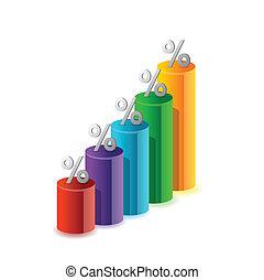 백분율, 색, 그래프, 삽화
