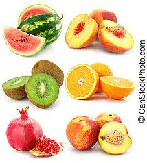 백색, 과일, 고립된, 수집