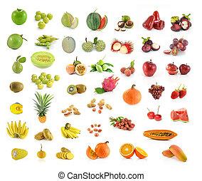 백색, 과일, 배경, 고립된, 수집