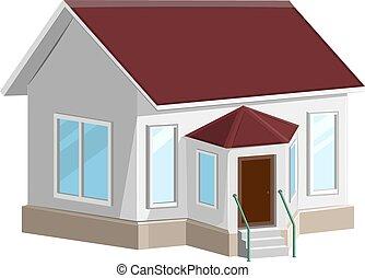 백색, 돌 집, 와, 돌출한 창