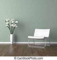 백색, 바르셀로나, 의자, 통하고 있는, 녹색