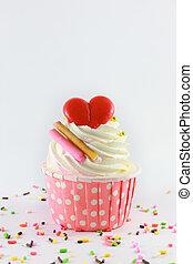 백색 배경, 컵케이크