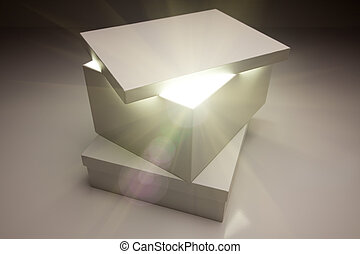 백색, 상자, 와, 뚜껑, 계시하는, 무엇인가, 매우, 밝은