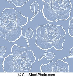백색, 아우트라인, 장미, 통하고 있는, 파랑, seamless, 패턴