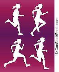 백색, 여성, 달리기, 실루엣, 벡터, 세트
