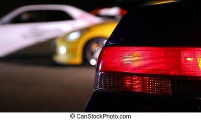 백색, 자동차, 타는 것, 즉시로, 에서, 열, 의, 몇몇의, 차