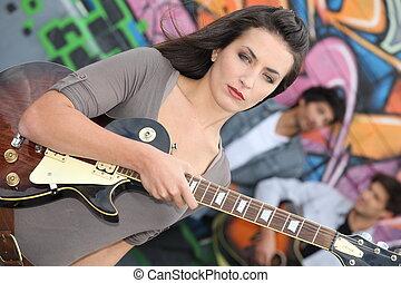 밴드, 음악을 연주하는 것, 젊은이