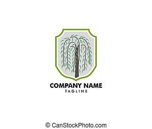 버드나무, 로고, 상징, 나무, 벡터