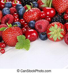 버찌, 나무, 장과, 과일, blueberries, 딸기