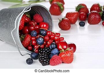 버킷, 버찌, 장과, 과일, blueberries, 딸기