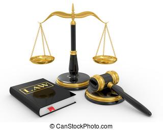 법률 서적, 작은 망치, 법률이 지정하는, 저울