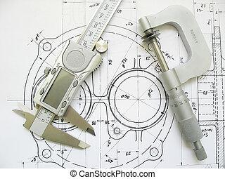 법적으로 성립 되는, 캘리퍼스, 마이크로미터, drawing., 공학, 디지털, 도구