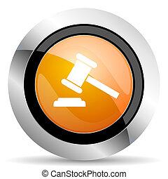 법정, 경매, 상징, 표시, 평결, 오렌지, 아이콘