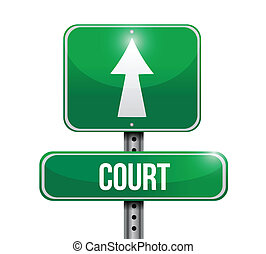 법정, 디자인, 길, 삽화, 표시