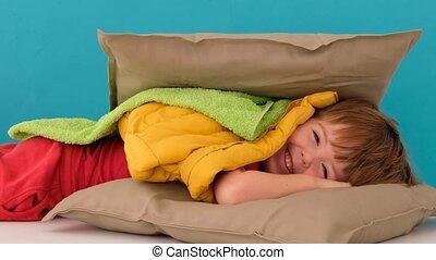 베개, 숨김, 소년, 배경, 파랑