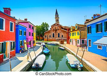 베니스, 경계표, burano, 섬, 운하, 다채로운, 집, 교회, 와..., 보트, 이탈리아