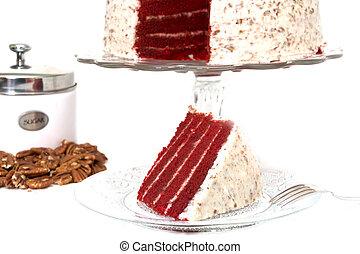 베다, 고립된, 빨강, 케이크, 벨벳
