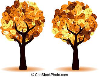 벡터, 가을, 나무