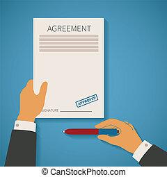 벡터, 개념, 의, 비즈니스 거래, 와, 동의, 협정, 계약, 종이, 우표, 와..., 펜